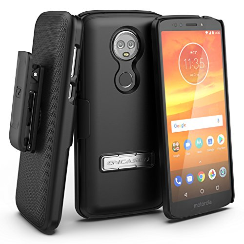 Encased Moto E5 Plus Case Belt Clip Holster, Ultra Thin Slimline Series (Hard Cover) Combo Shell with Alloy Kickstand - for Motorola E5PLUS / E5 Supra (Smooth Black) (Moto E5 Plus)