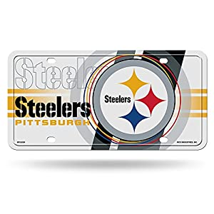 "NFL Pittsburgh Steelers ""Circle"" Metal Auto Tag, White at Steeler Mania"