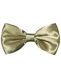 Mens Formal Satin Banded Bow Tie Various Colors (Champagne)
