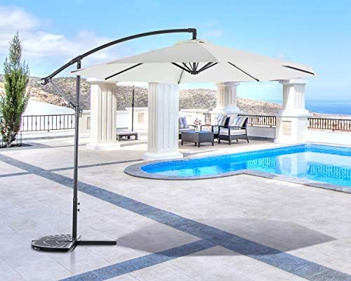 SUNCREAT 10FT Offset Cantilever Umbrella Patio Outdoor Hanging Umbrella with Crank Lift and Cross Base, Beige