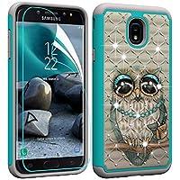 Berry Accessory Galaxy J7 2018 Case with Screen Protector,Galaxy J7 Star/J7 Aura/J7 Aero/J7 Top/J7 Crown Glitter Sparkle Bling Studded Rhinestone Crystal Hybrid Dual Layer Armor Case Cute Owl
