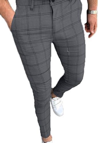 Pantalones A Cuadros Para Hombres Pantalones De Moda De Formula Recortada Pantalones Rectos Con Cremallera Mallas Extensibles Amazon Es Ropa Y Accesorios