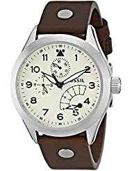 Fossil Mens CH2938 The Aeroflite Multifunction Leather Watch - Brown