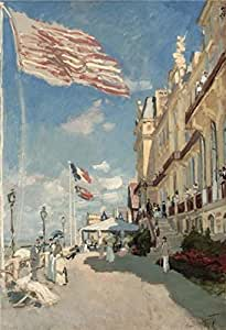 Perfect effect Canvas ,the Best Price Art Decorative Prints on Canvas of oil painting 'Hotel des Roches Noires, Trouville, 1870 By Claude Monet', 10x15 inch / 25x37 cm is best for Wall art gallery art and Home gallery art and Gifts