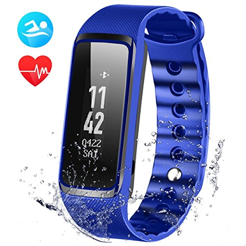Fitness Tracker Heart Rate Monitor, Weloop 3ATM(>IP68) 30M Swimming Waterproof 24-Hour Auto Activity Track Bracelet, Walking/Running Pedometer, Sleep Monitor for iPhone/iOS/Android Smartphone-Blue