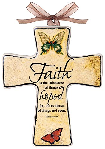 Manual Woodworkers & Weavers Divine Inspirations Ceramic Cross, 5.5-Inch, Faith, Set of 6 by Manual Woodworker