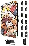 1831 - Cool Cute Fun Cat Kitten Feline Pet Colourful Collage Design Samsung Galaxy S4 Mini Fashion Trend TPU Leather Flip Case Full Case Flip Credit Card TPU Leather Purse Pouch Defender Stand Cover