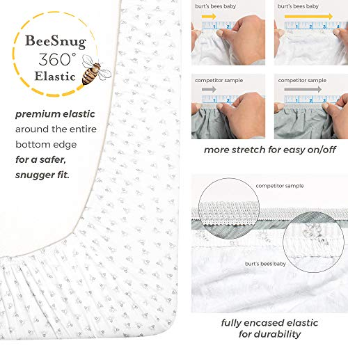 "Burt's Bees Baby - Changing Pad Cover, 100% Organic Cotton Changing Pad Liner for Standard 16"" x 32"" Baby Changing Mats (Heather Grey Thin Stripes)"