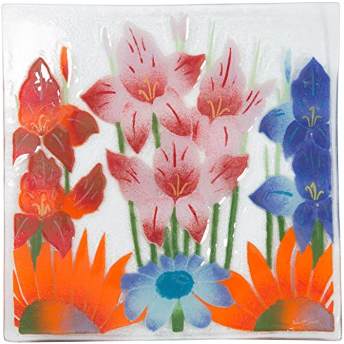 Fusion Art Glass 10-Inch Square Plate with Wild Flowers Design