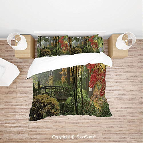 FashSam Luxury 4 Pieces Duvet Cover Bedding Set Wet Wooden Bridge at Portland Japanese Garden Oregon in Autumn with Various Trees for Family(Double)
