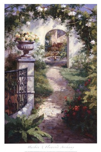 Flowered Archway Poster by Haibin (24.00 x 36.00)