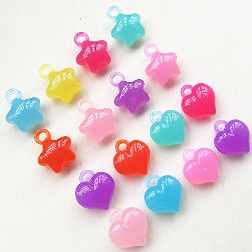 Qingxi Charm 60pcs Shiny Candy Jelly Color Love Star Clear Acrylic Pendant Bead Hairband Bracelets Jewelry DIY Craft (Mix)
