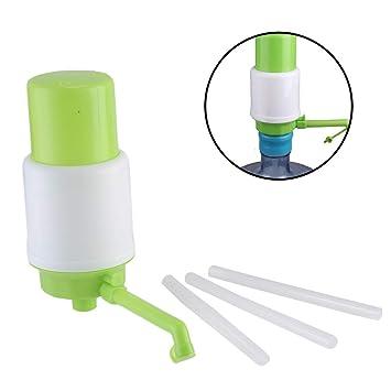 HUVE Dispensador de Agua Manual para garrafas Bomba, Compatible con la mayoría de Botellas Grandes Que usas a Diario en casa,Blanco/Verde: Amazon.es: ...