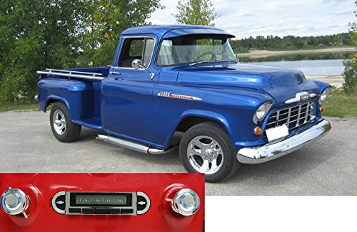 1955-1959 Chevrolet Pickup Truck USA-630 II High Power 300 watt AM FM Car Stereo/Radio with AUX Input, USB Input, iPod Docking Cable. No modifications to original dash required.