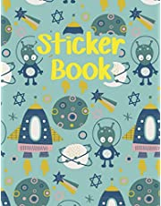 Sticker Book: Animal Space Rockets Planets Icons Blank Sticker Book for Boy Collection Notebook Page Size 8.5x11 Inches 120 Pages Children Family Kids Activity Book