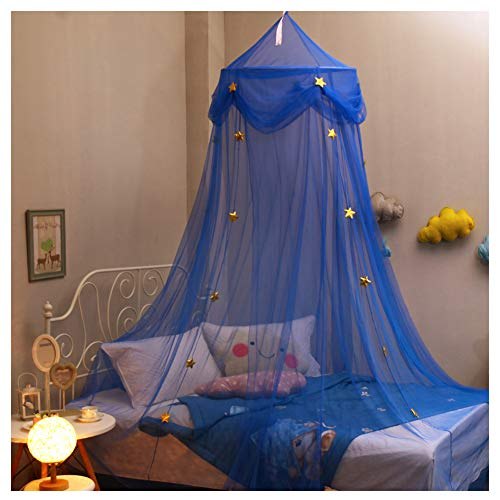 Hidecor Mosquito Net Canopy Bed Curtains Dome Princess Stars Bed Tent for Girls Boys Kids, Indoor Game House(Blue) by Hidecor