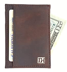 Men's Slim Leather Wallet - Minimalist Front Pocket Wallets For Men - ID Slot, Gift Box