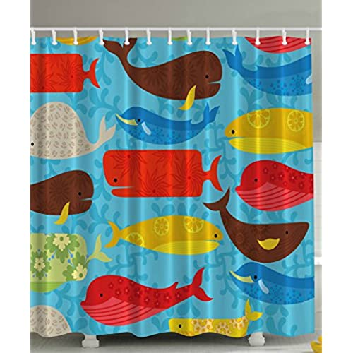 red and teal shower curtain.  of Fish Tail Nature Lover Decor Water Theraphy Home Distinctive Vivacious Decoration Bath Set Polyester Fun Shower Curtain Blue Mustard Red Brown Beige Amazon com