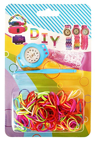 - Rubber Loom Band Watch, DIY Loom Watch Kit, Arts and Craft Project for Kids, Rainbow Color Bands, Watch Face, S-Clasps and Hook (Light Blue)