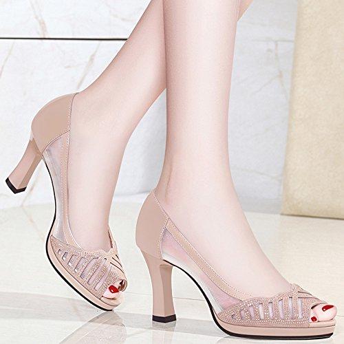 Hauts Sandales uk3 Shoeshaoge Épaisse Femmes Eu36 Des Poisson Net 116 Talons Bouche De Avec Fils Respirante Femme 5 Chaussures zaawfd