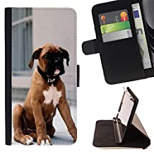 SUPER PIG - FOR sony Xperia M4 Aqua - Canada Dog - Wallet Pu Leather Credit Card Holder Pouch Case Cover