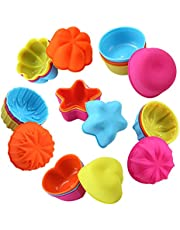 To encounter Silicone Baking Cups, Reusable Silicone Molds, Food Grade Non-Stick Silicone Cake Molds Sets, 3 Inch 6 Shapes Silicone Muffin Liners, Pack of 24