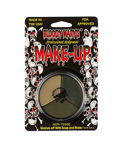 Tri Color Zombie Foundation Wheel For Theater, Costume, Halloween By Bloody (Halloween Zombie Face Paint)