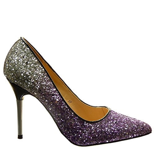 Angkorly - damen Schuhe Pumpe - Stiletto - Sexy - Abend - glitzer Stiletto high heel 10 CM - Lila