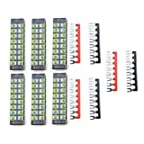 XLX 12pcs ( 6 Set ) 600V 25A 8 Positions Double Row Screw Terminal Strip and 400V 25A 8 Positions Red / Black Pre-Insulated Terminal Barrier Strip