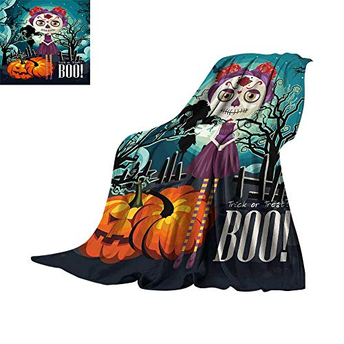 Halloween,Fleece Blanket Cartoon Girl with Sugar Skull Makeup Retro Seasonal Artwork Swirled Trees Boo Blanket for Bed Couch W62 x L60 inch -