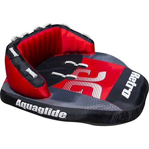 Aquaglide Tube (Aquaglide Retro 3 Winged with Back Rest Towable Tube, Red, 84 x 95.5-Inch)