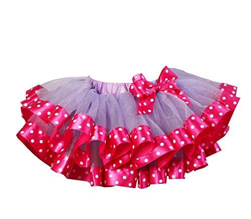 Kirei Sui Polka Dots Satin Trimmed Tutu XS Hot Pink ()