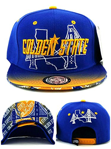 - Golden State New Leader Youth Kids Bridge Skyline 3 Warriors Colors Blue Gold Era Snapback Hat Cap 19in - 22in Head Size