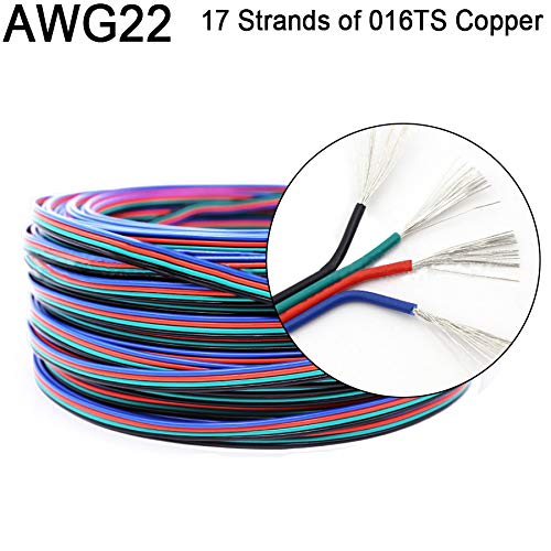 22AWG 0.32mm² 4 Wire Parallel LED Extension Cable for Color Change RGB LED Strip 5050 3528 WS2801 WS2813 4 Color 4Pin Wire (100m/320ft)