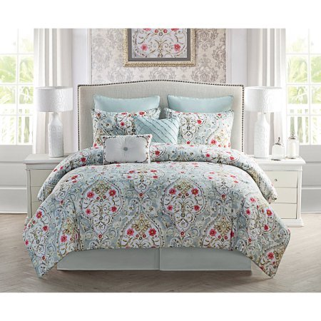 VCNY Evangeline Multi-colored Floral Pattern King Size Comforter Sheet Set Includes 1 (Dan River Soft Pillow)