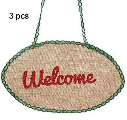 Zoueroih-HO Carteles de Bienvenida 3 Piezas pequeña ...