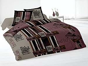Soleil d'ocre 635856 Travel - Juego de funda nórdica (algodón, funda nórdica de 240 x 220 cm y 2 fundas de almohada de 63 x 63 cm), color marrón