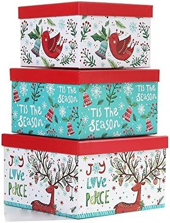 S-HH クリスマスギフトボックス(3パック)クリエイティブ漫画その他、各種チョコレート、ケーキ、ビスケット、ドライ食品、クリスマスセットボックス大容量ギフトボックスを表示します。