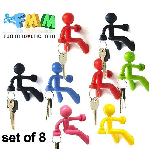 Rare Antique Bronze (Fun Magnetic Man | 8 Pcs Super Fantastic Key Holder with Wall Climbing Man Design | Ultra Strong Magnet Holds Up to 1.4 Lbs | Black, Red, Blue, Green, Yellow, and Pink | 1037)
