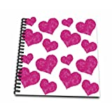 3dRose db_77741_1 Cute Fuzzy Pink Valentine Hearts Pattern-Drawing Book, 8 by 8-Inch