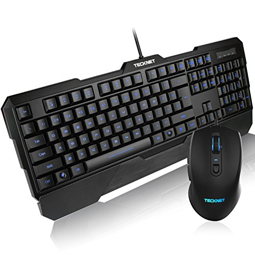 Tecknet Kraken 3 LED Adjustable Backlit Gaming Keyboard and Mouse - Black