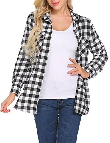 Roll Up Long Sleeve Checkered Button Down Plaid T Shirt (White, Large) (Checkered Flannel)