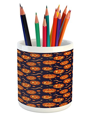 Lunarable Halloween Pencil Pen Holder, Pumpkins Pattern Different Face Expressions Happy Angry Scary Puzzled, Printed Ceramic Pencil Pen Holder for Desk Office Accessory, Orange Indigo (Different Halloween Pumpkin Faces)