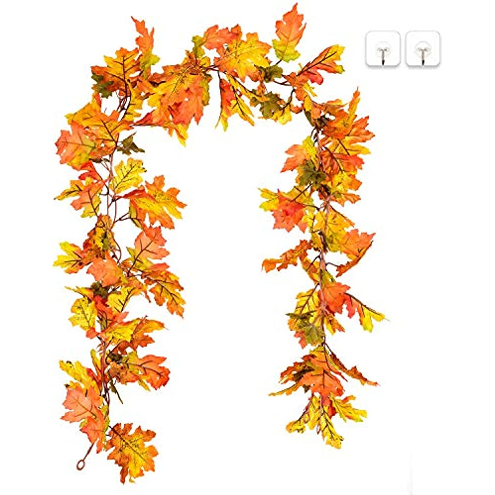 5.9ft//Piece Fall Leaves Garland Rocinha Fall Garland 2 Pack Maple Leaf Garland Thanksgiving Decorations for Home