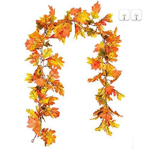 DearHouse 2 Pack Artificial Maple Leaf Garlands, 5.9 ft/Piece Autumn Hanging Fall Leave Vines for Indoor Outdoor Wedding Thanksgiving Dinner Party Fireplace Christmas Decor (Party Fall Outdoor)