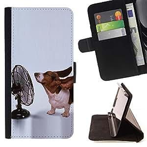 Momo Phone Case / Flip Funda de Cuero Case Cover - Orejas Basset Hound perro divertido Peque?o; - Motorola Moto E ( 1st Generation )