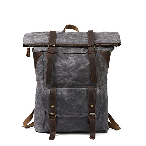 Mochila Retro Canvas Men Double Shoulder Bag Mochila de viaje de gran capacidad Leisure Outdoor Mountaineering Bag para Unisex Maletín Thicken Daypacks, Coffee gris
