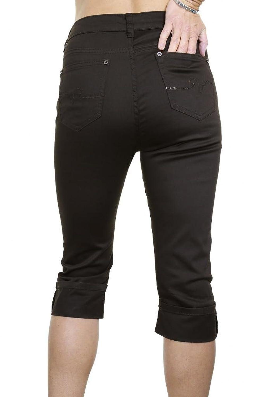 (1446-2) Plus Size Stretch Crop Capri Jeans Turn Up Cuff Dark Brown