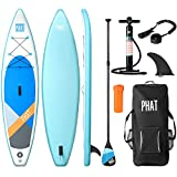 """PHATTM 11' Inflatable Stand Up Paddle Board (6"""" Thick) with Pump, Paddle, Fin"""