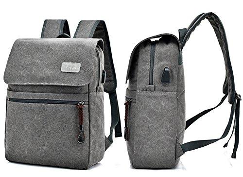 Estwell Business Laptop Rucksack mit USB-Ladestelle, Herren Damen Jahrgang Leinwand Daypack Rucksäcke für Schule Reisen Wandern Outdoor Kaffee